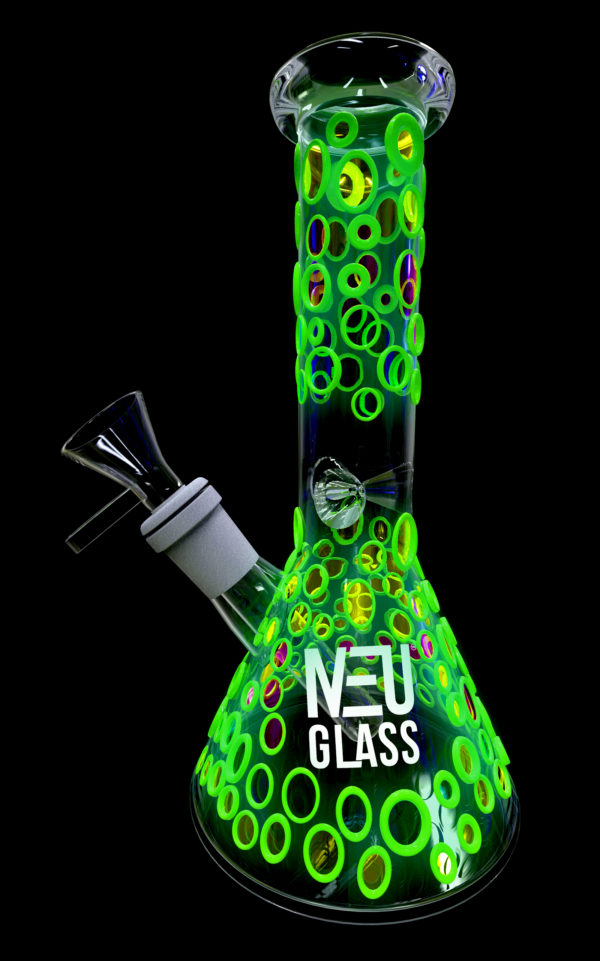 "NEU Concentrate Rig Beaker UV Glow in the Dark 8"" Blue Purple Yellow"